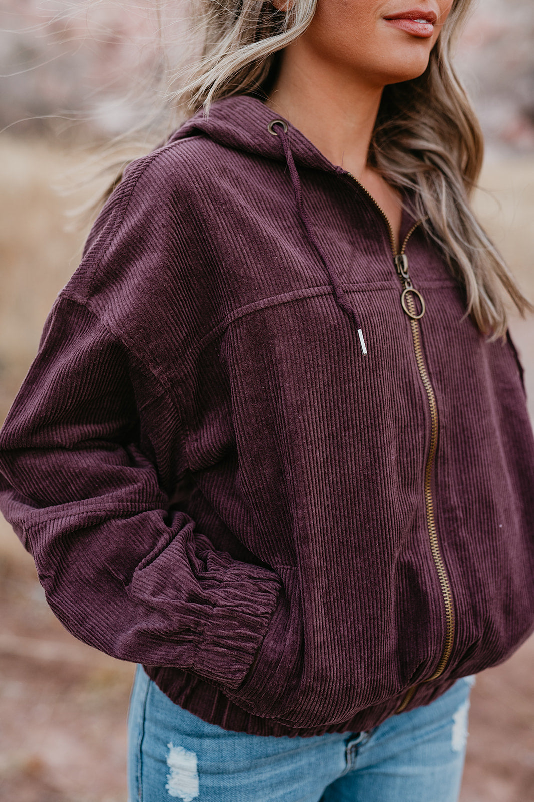 THE CASSIDY CORDUROY ZIP UP HOODIE IN PLUM