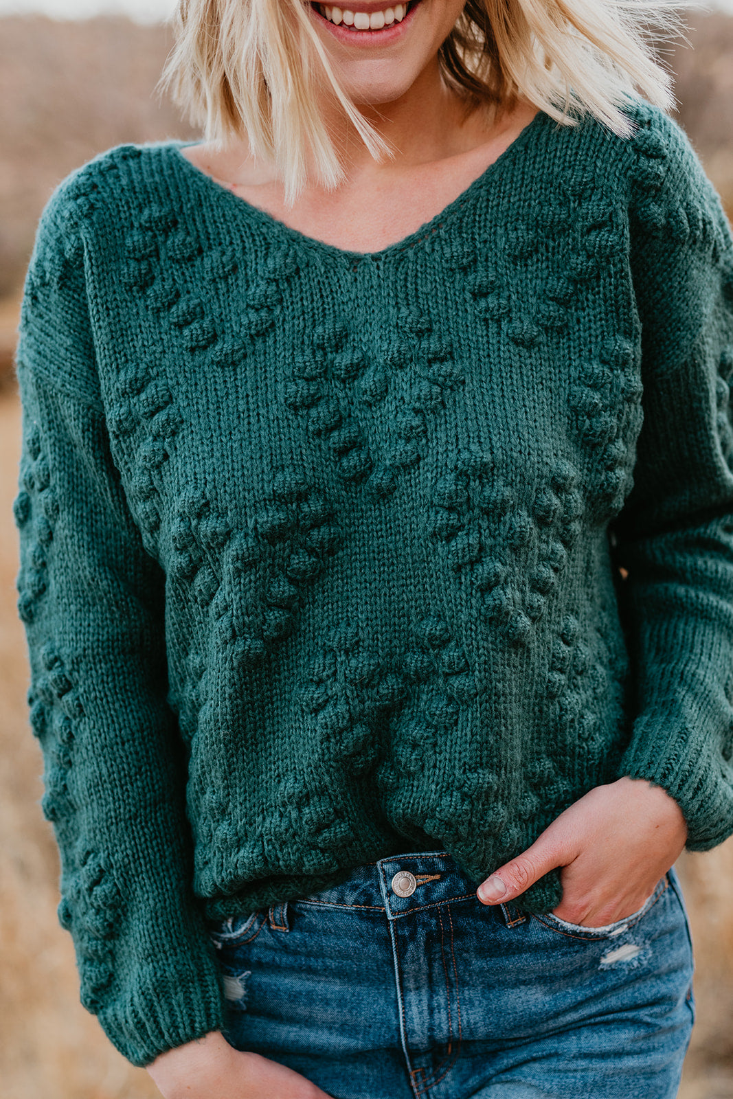THE LOVELY POM SWEATER IN TEAL