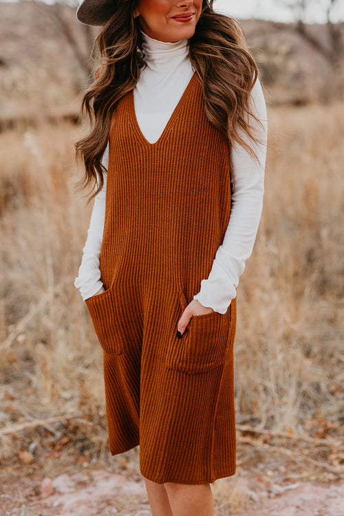 THE REECE KNIT DRESS IN CAMEL