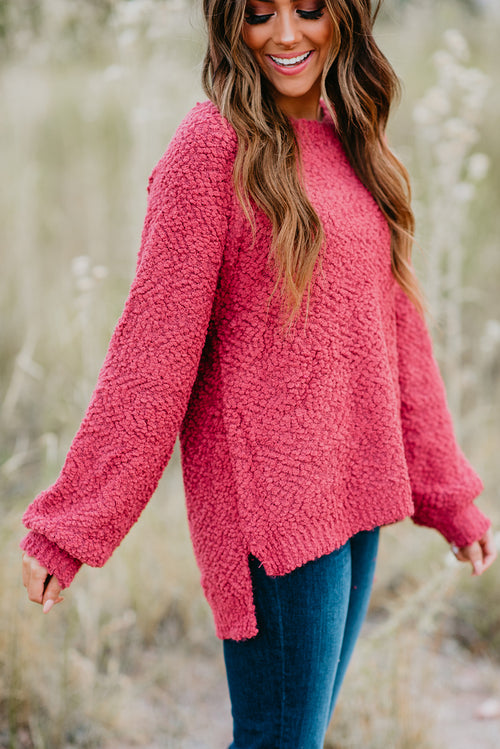 THE PAYSON POPCORN SWEATER IN RASPBERRY