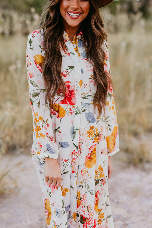 THE FARRAH FLORAL PRINTED LONG SLEEVE DRESS