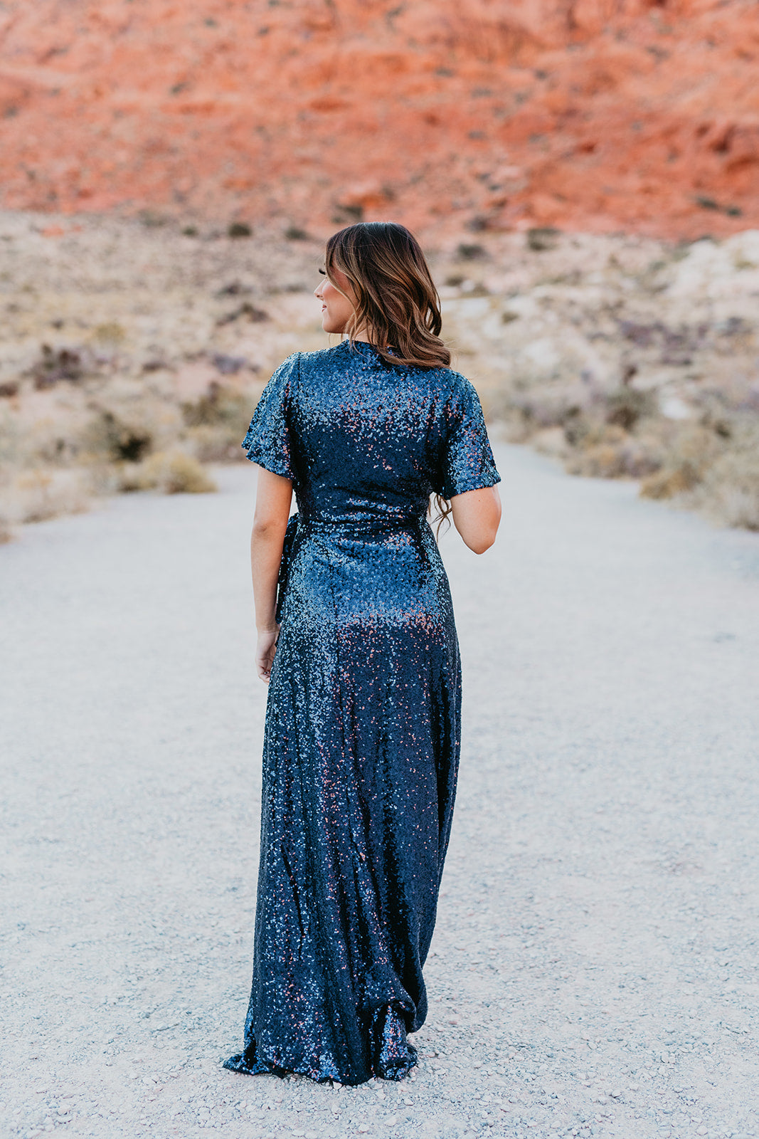 THE ANASTASIA WRAP DRESS IN SEQUINED SAPPHIRE