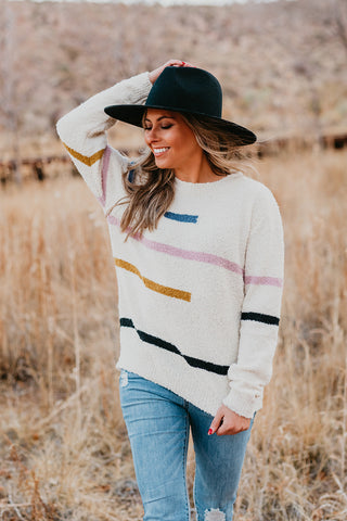 THE JAMIE PEACH STRIPE SWEATER