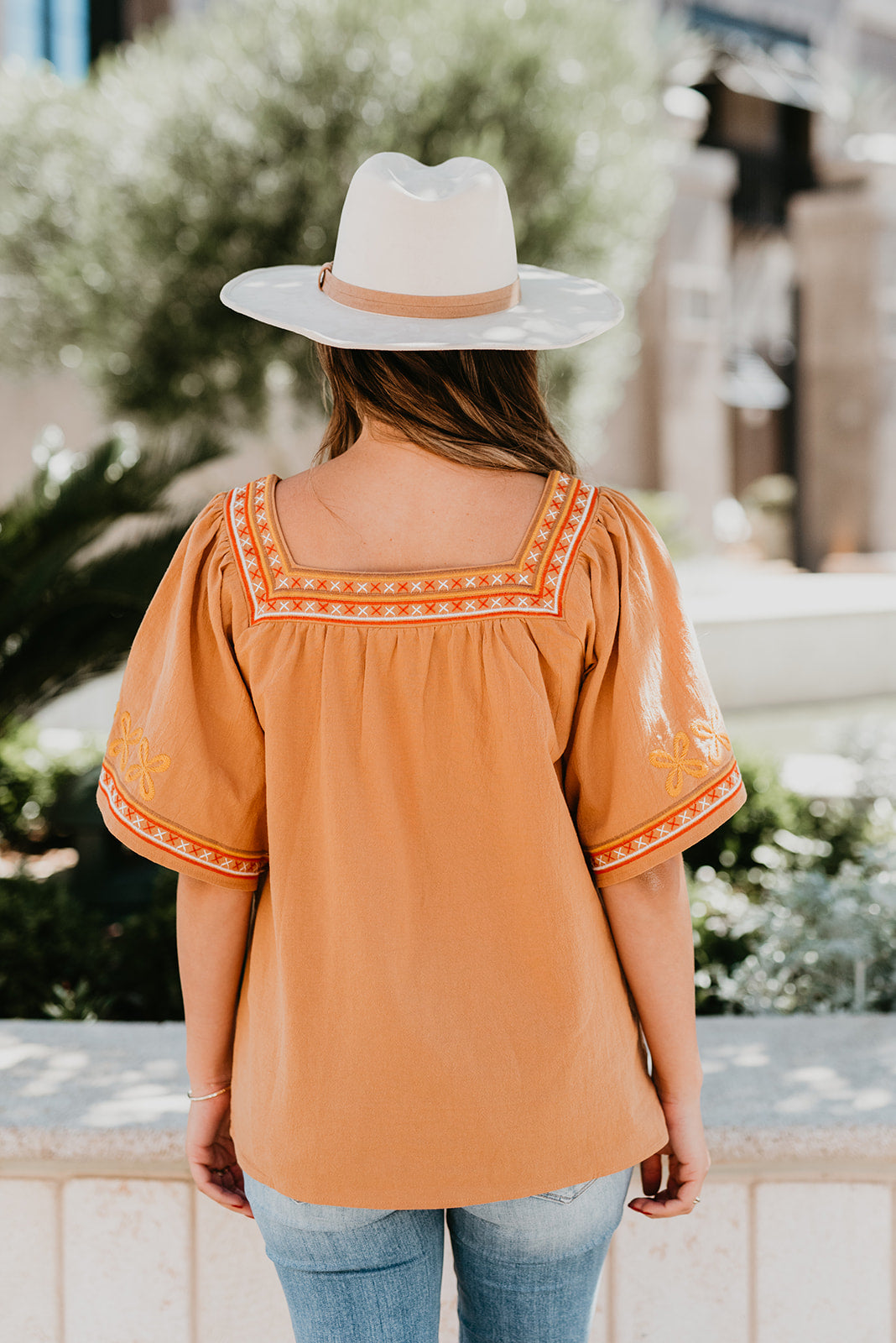 THE HANNAH EMBROIDERED TOP IN CAMEL