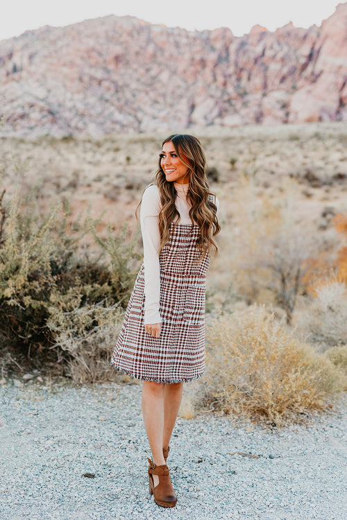 THE JOJO JUMPER MIDI DRESS IN PLAID