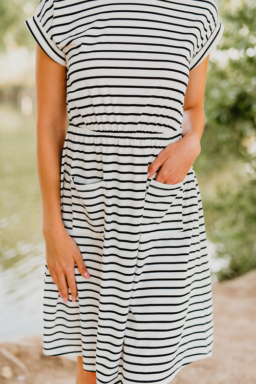 THE SHILOH STRIPE MIDI DRESS WITH POCKETS IN WHITE