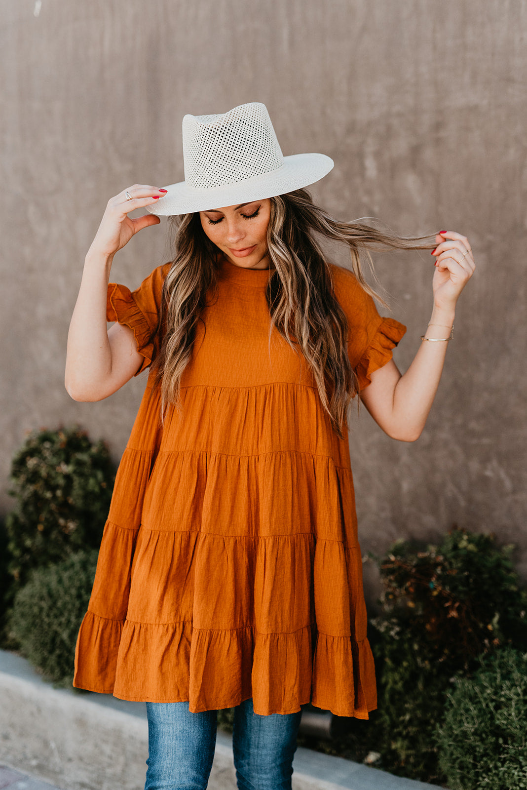 THE AVERY TIERED TUNIC IN GINGER