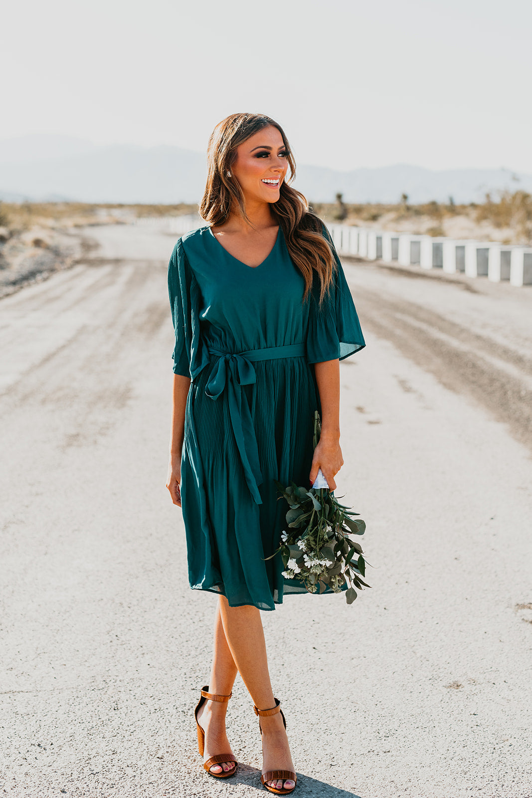 THE TESS PLEATED DRESS IN TEAL