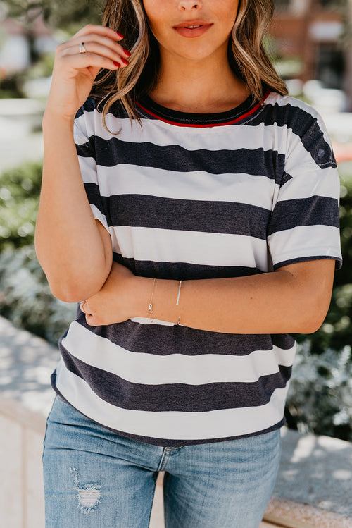 THE BOYFRIEND TEE IN NAVY STRIPE