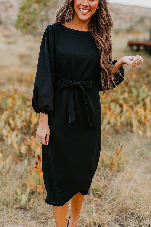 THE BETHANY BISHOP SLEEVE MIDI DRESS IN BLACK
