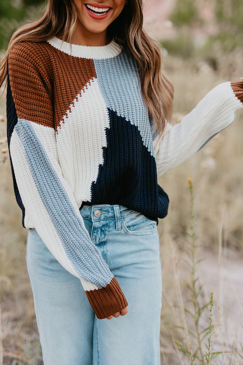 THE SAWYER COLORBLOCK SWEATER IN NAVY