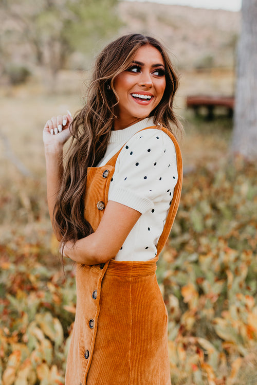 THE HONEY CORDUROY OVERALL DRESS