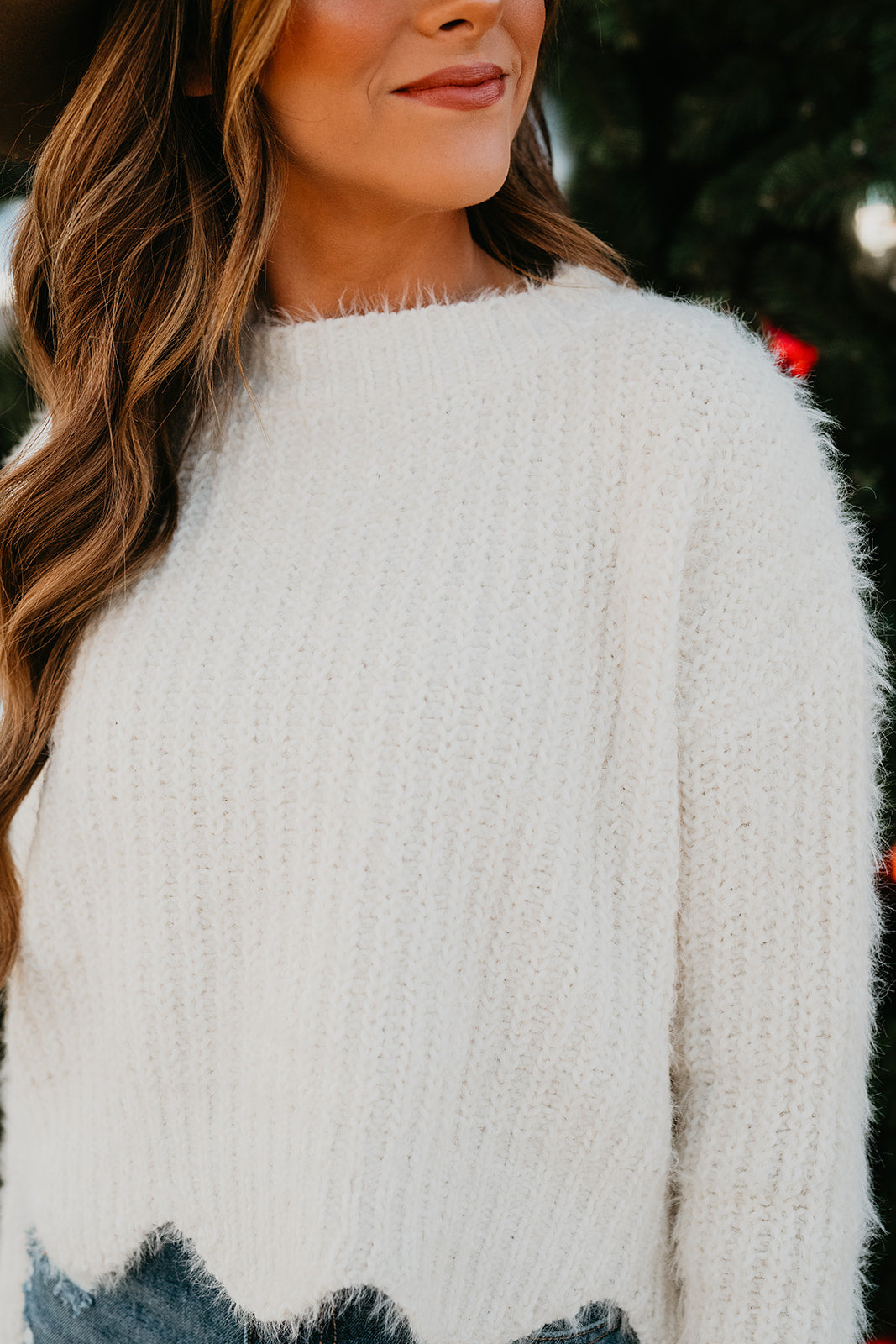 THE KRISTEN SCALLOP SWEATER IN IVORY