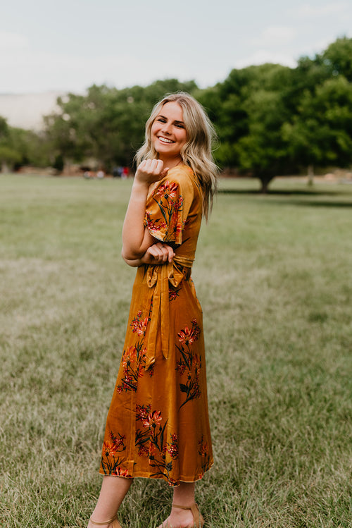 THE VANESSA VELVET FLORAL WRAP DRESS IN MUSTARD