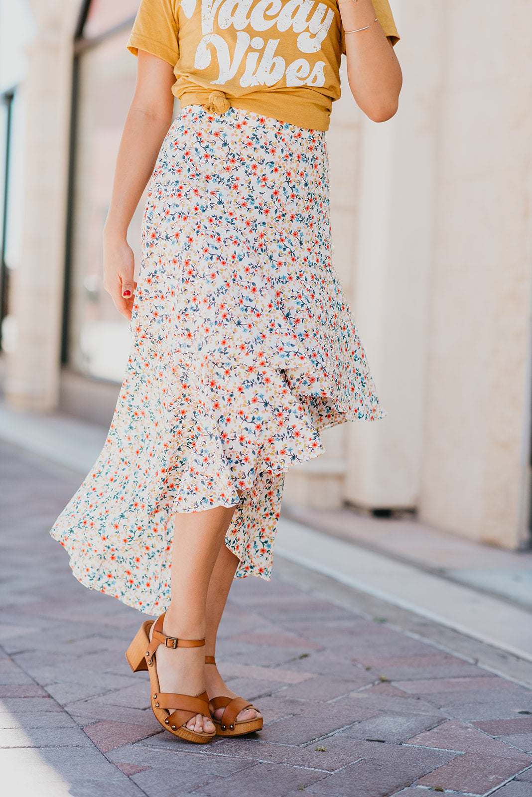 THE SAGE TIERED MIDI SKIRT IN MULTI