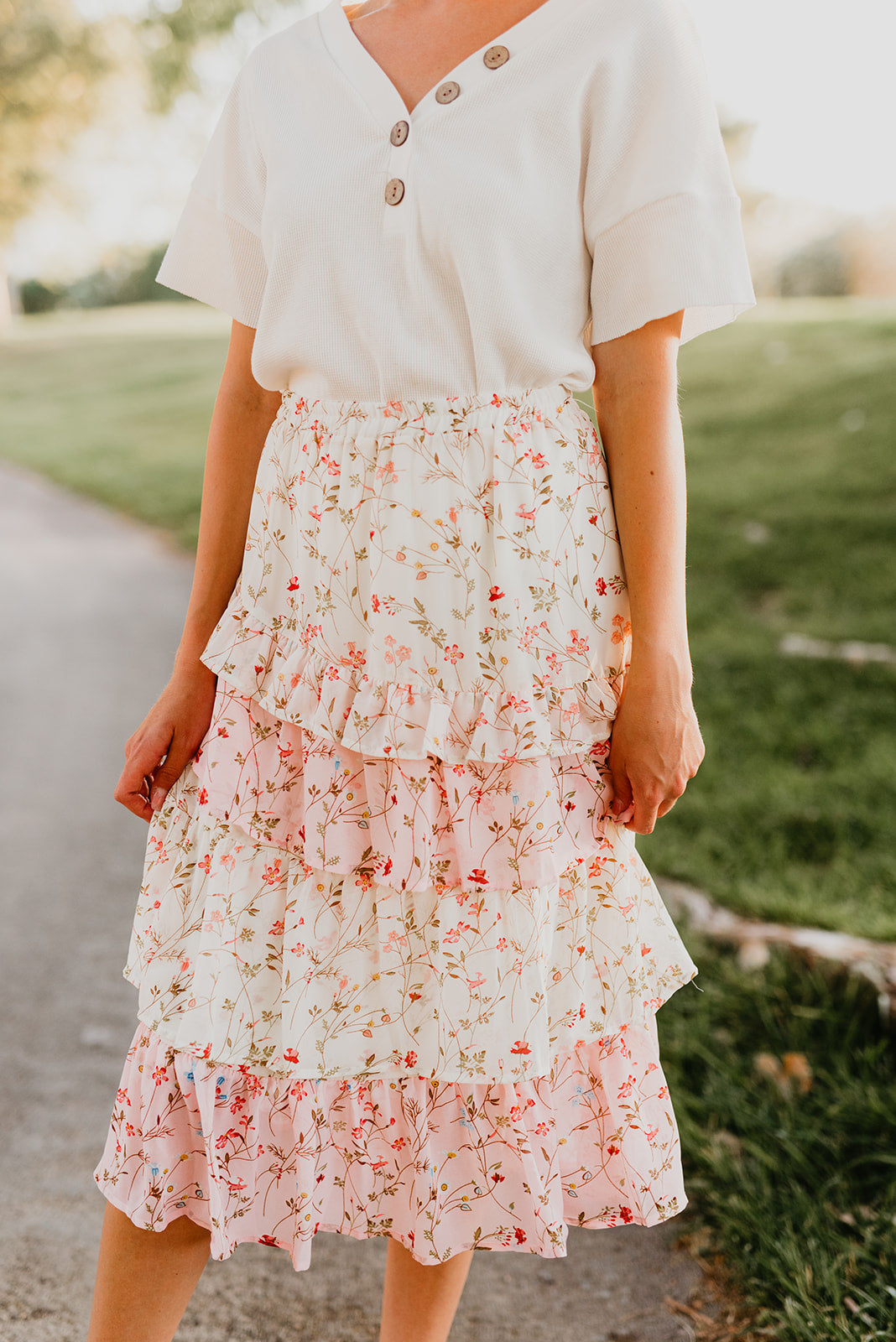 THE TIFFANY TIERED FLORAL MIDI SKIRT IN OFF WHITE AND PINK