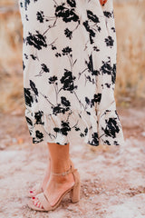 THE ARIA FLORAL PRINT DRESS IN CREAM