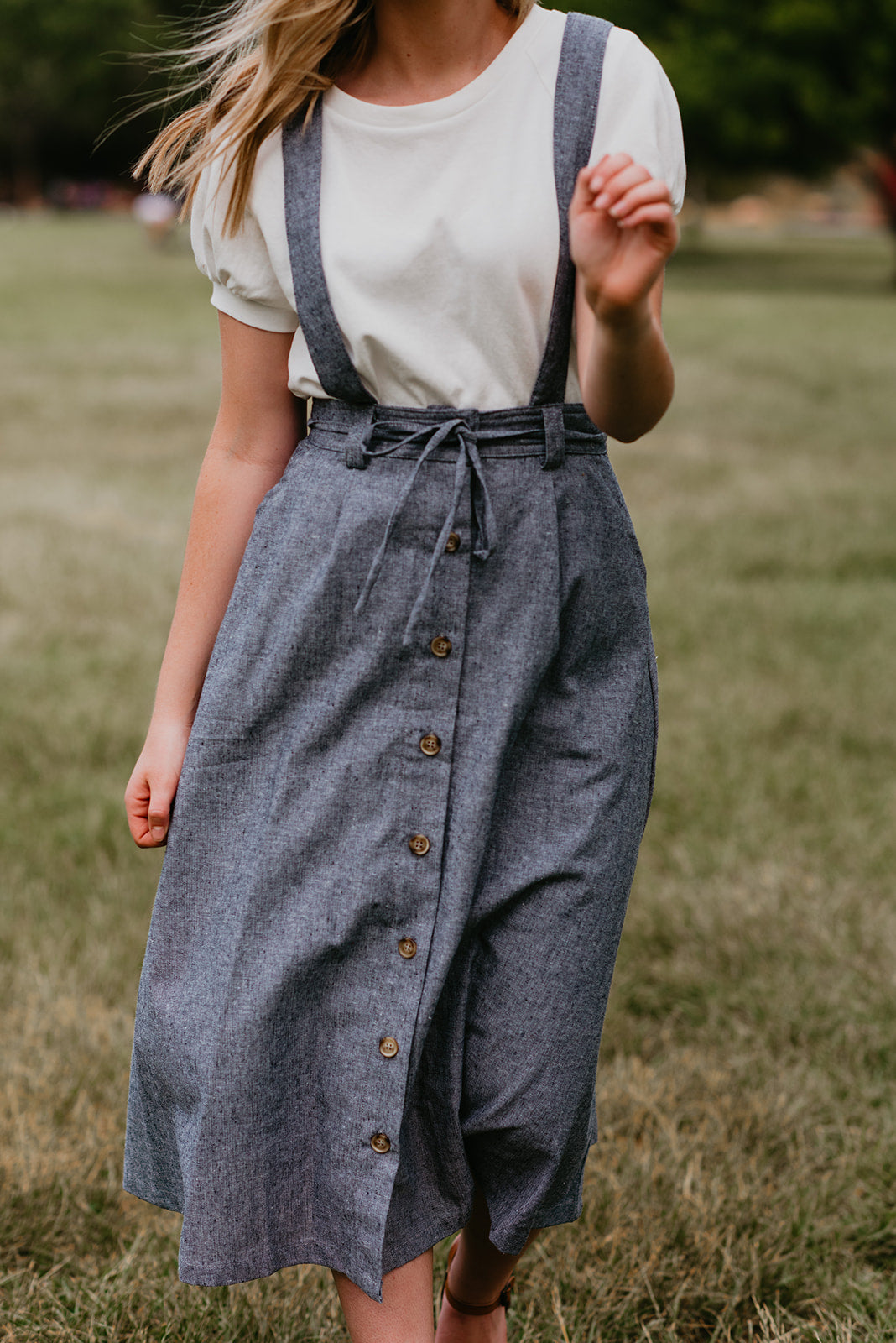 THE DARBY BUTTON DOWN OVERALL SKIRT IN DENIM