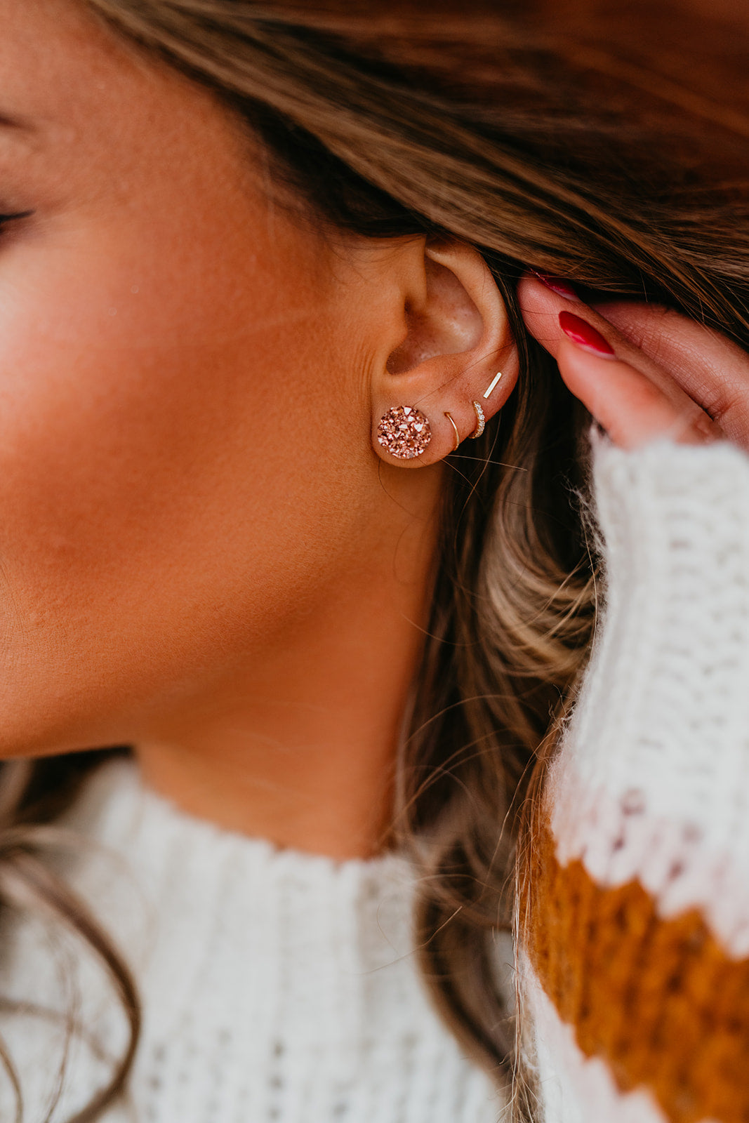 THE ROUND ROSE GOLD EARRINGS