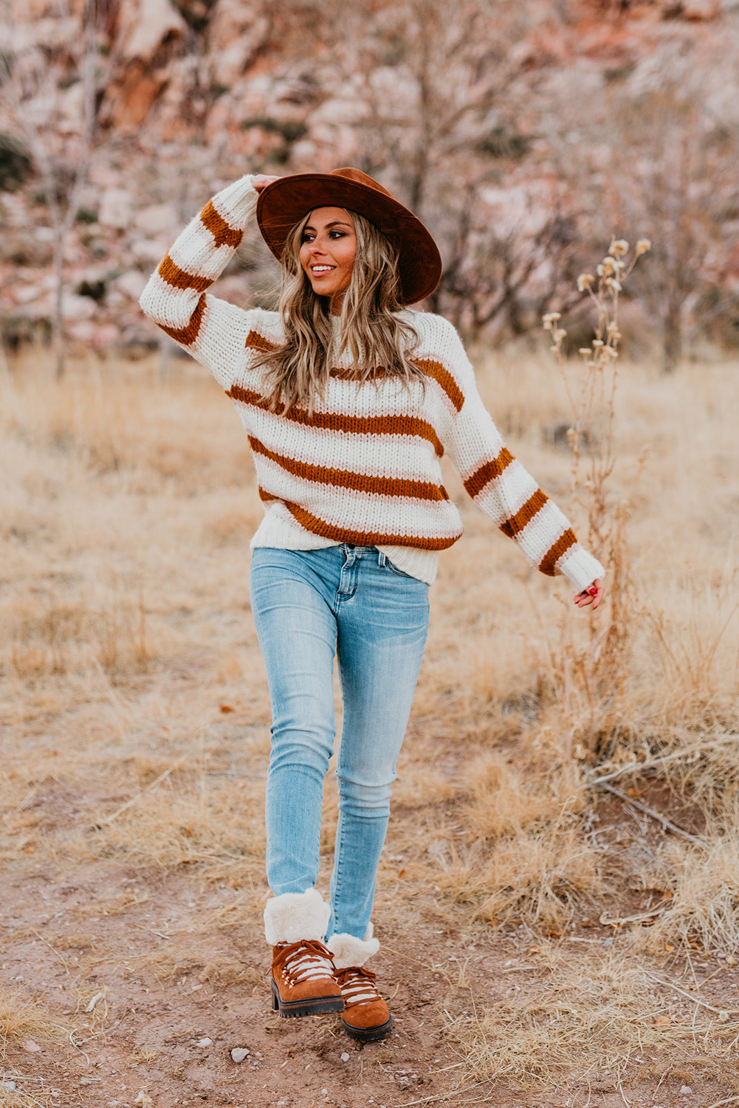THE NIKKI STRIPE SWEATER IN CREAM