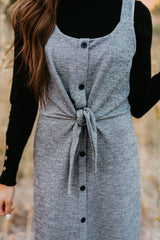 THE QUINCY TIE FRONT DRESS IN GREY