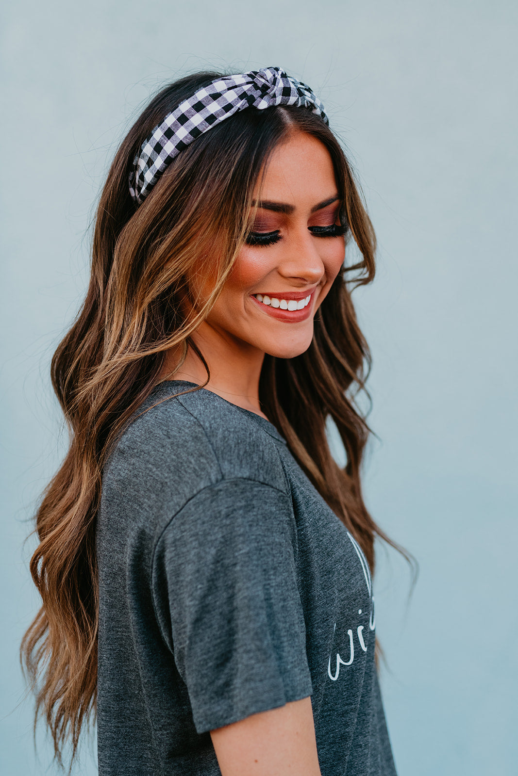 THE BLACK AND WHITE GINGHAM KNOTTED HEADBAND