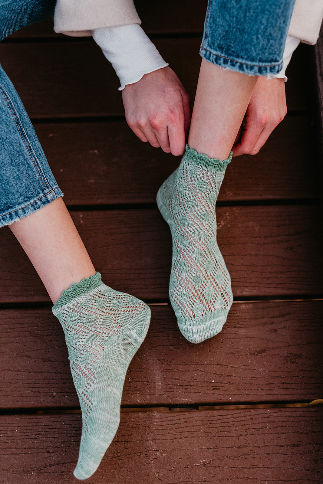 THE KNIT ANKLET SOCKS IN SEA FOAM