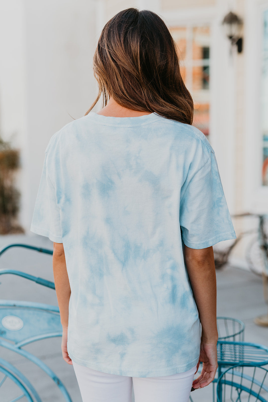 THE SHORT SLEEVE TIE DYE TOP IN BLUE DREAM
