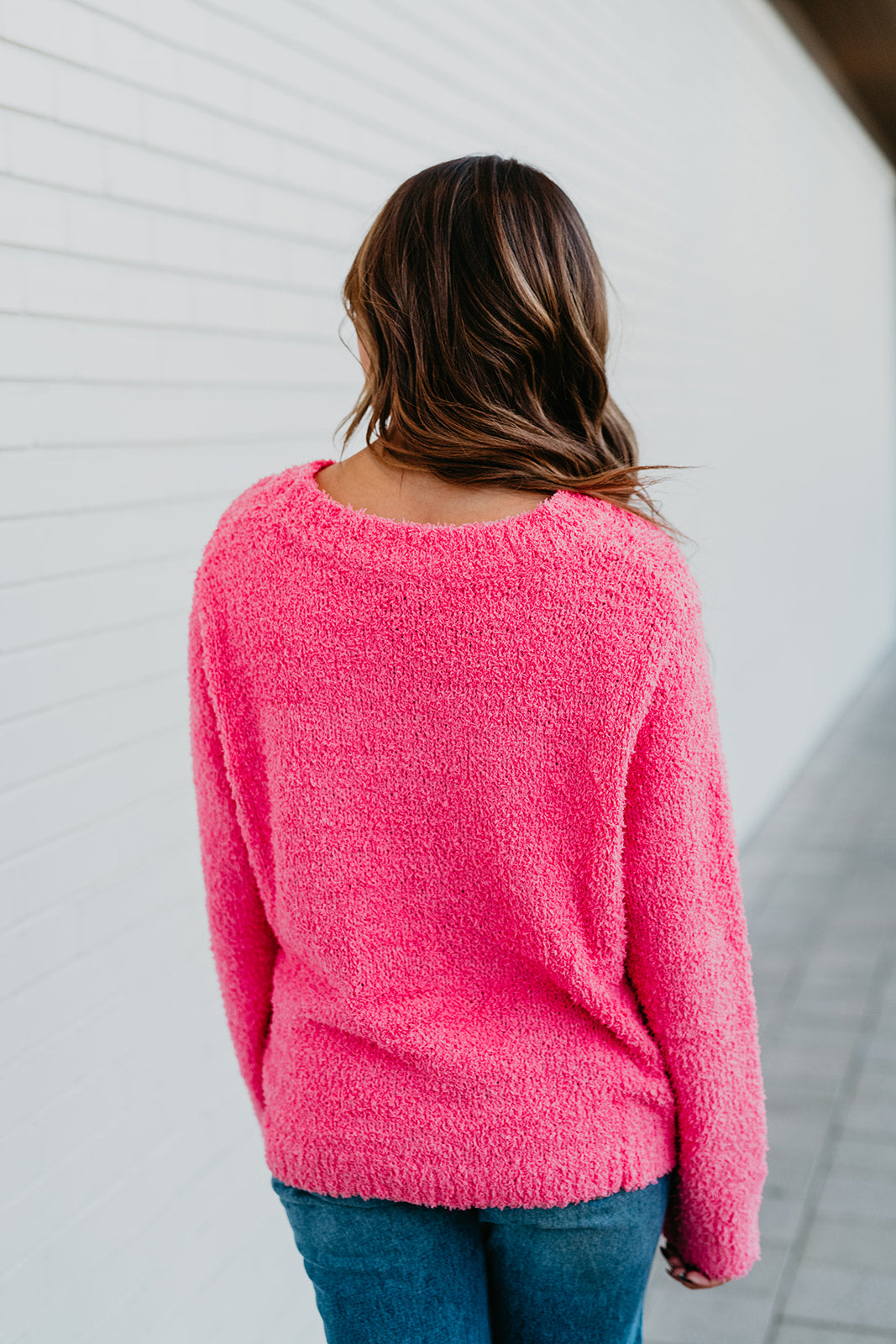 THE FUZZY SWEATER IN BARBIE PINK
