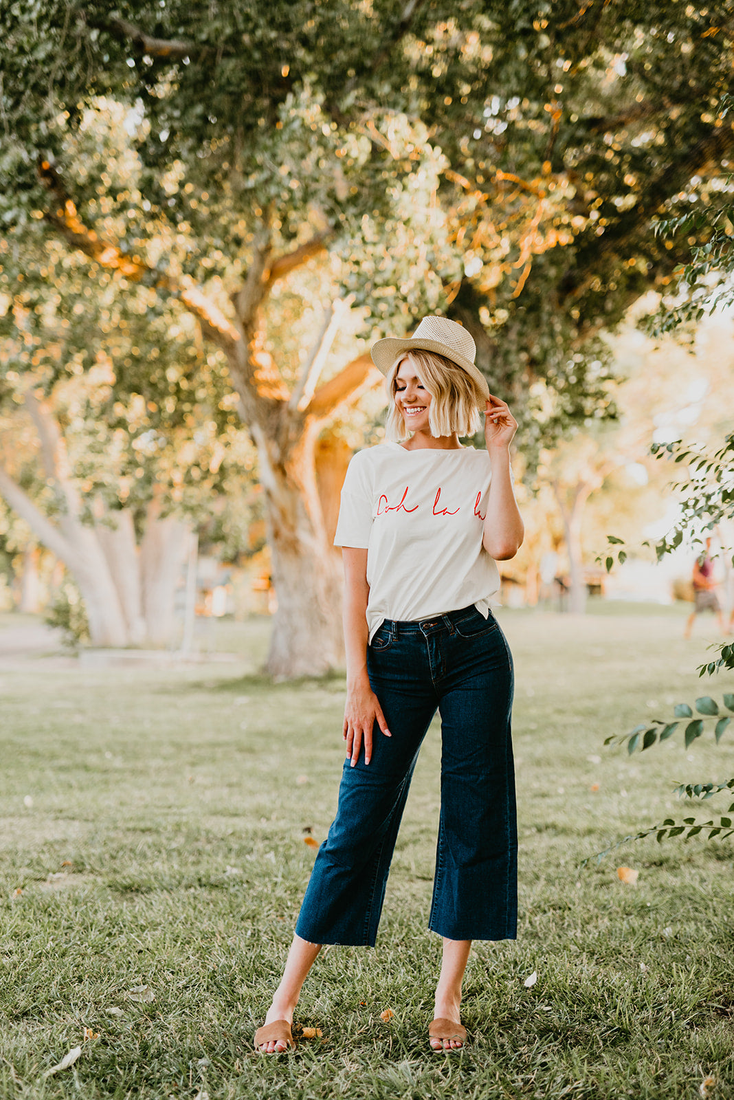 THE OOH LA LA EMBROIDERED TEE IN IVORY