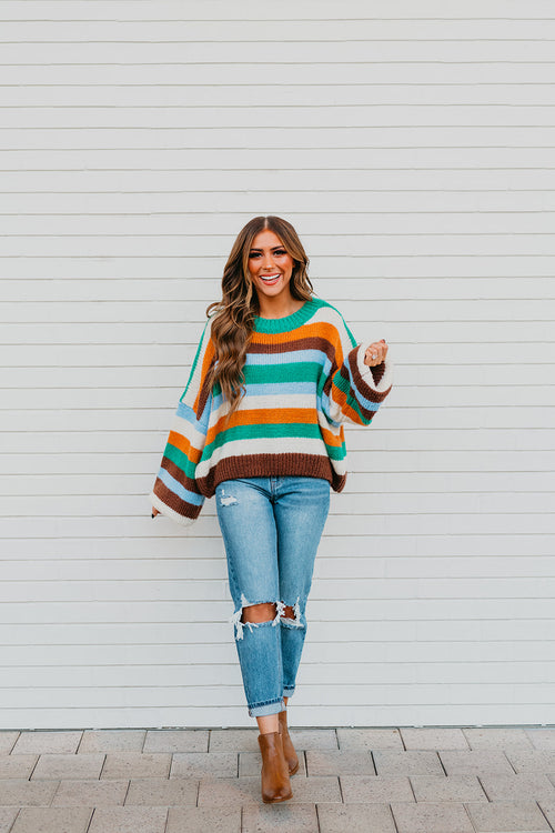 THE KAITLYN KNIT PULLOVER IN MULTI