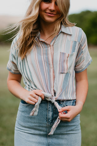 THE JAZZ STRIPE BUTTON DOWN IN MULTI