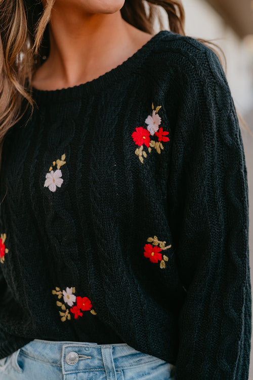THE KELLY EMBROIDERED SWEATER IN BLACK