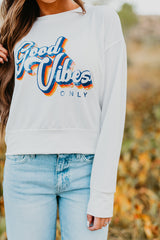 THE GOOD VIBES ONLY CROPPED CREWNECK IN WHITE