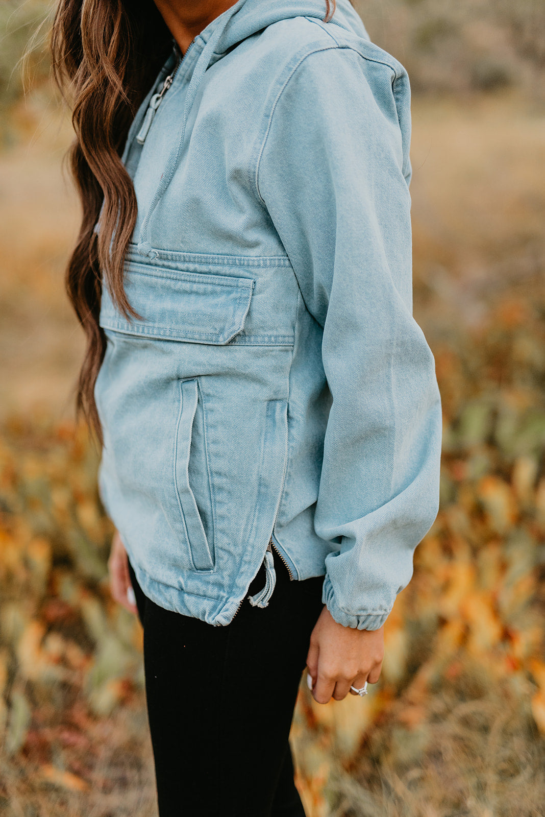 THE DANI DENIM HALF ZIP HOODIE