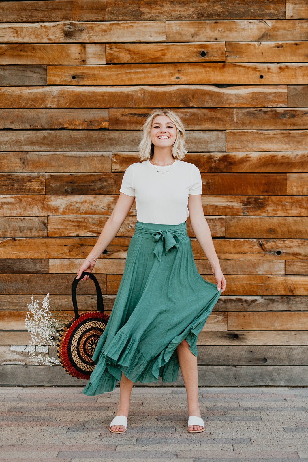 THE MARISSA MAXI SKIRT IN DUSTY SAGE