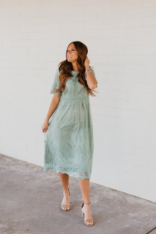THE JOLIE LACE MIDI DRESS IN SEA FOAM