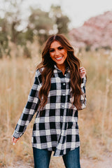 THE PATTI PLAID BUTTON DOWN FLANNEL IN NAVY
