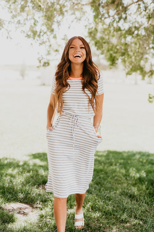 THE EVERY DAY STRIPED MIDI DRESS IN GREY
