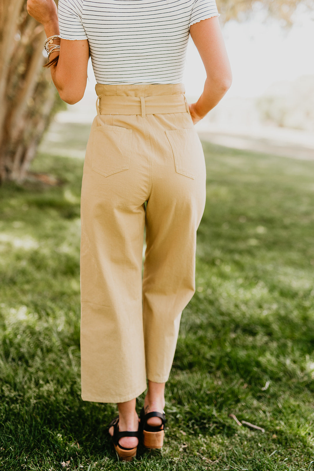 THE CLAIRE TIE WAIST STRAIGHT LEG PANT IN MUSTARD