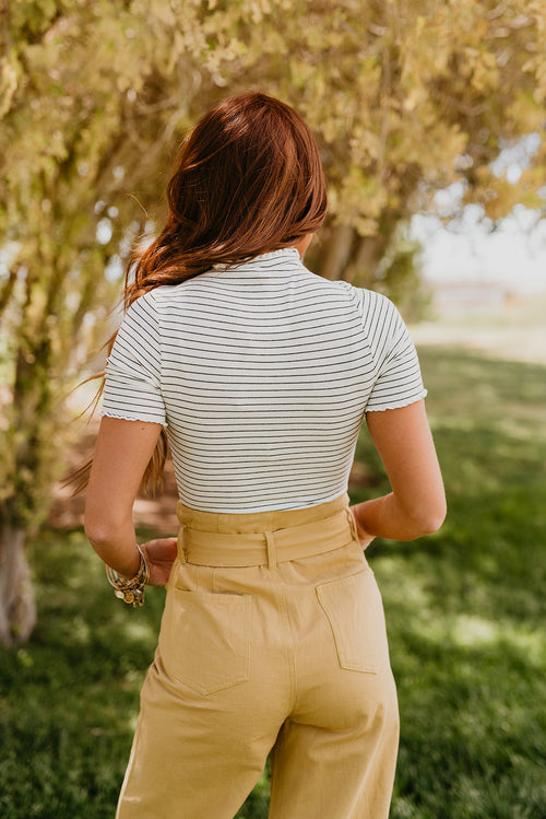 THE CECE CROPPED STRIPE TEE IN WHITE