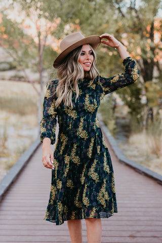 THE FULL BLOOM EMBROIDERED DRESS IN BLACK