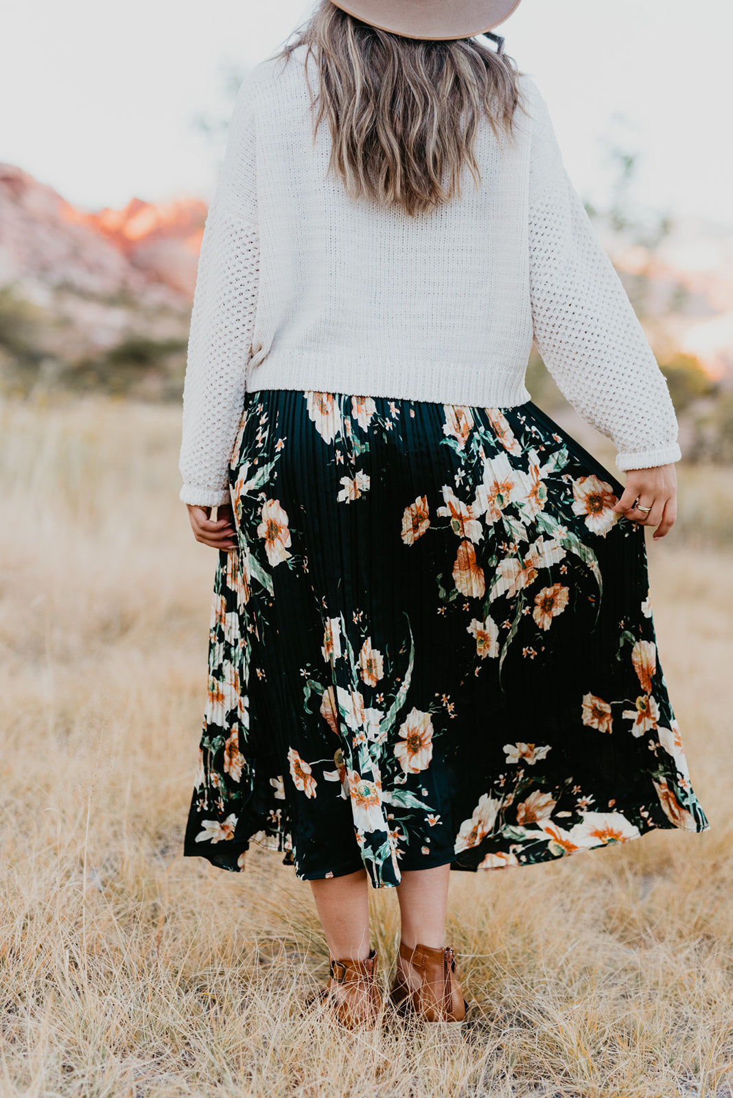 THE FLYNN FLORAL PRINT MIDI SKIRT