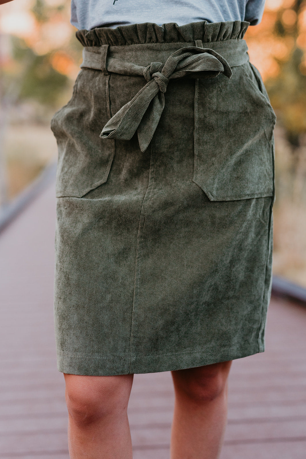 THE OWEN CORDUROY SKIRT IN OLIVE