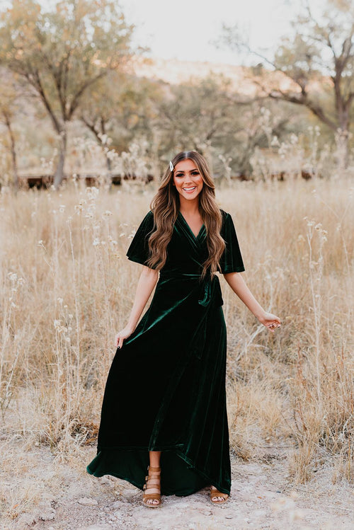 THE REGAL VELVET WRAP DRESS BY PINK DESERT IN EMERALD