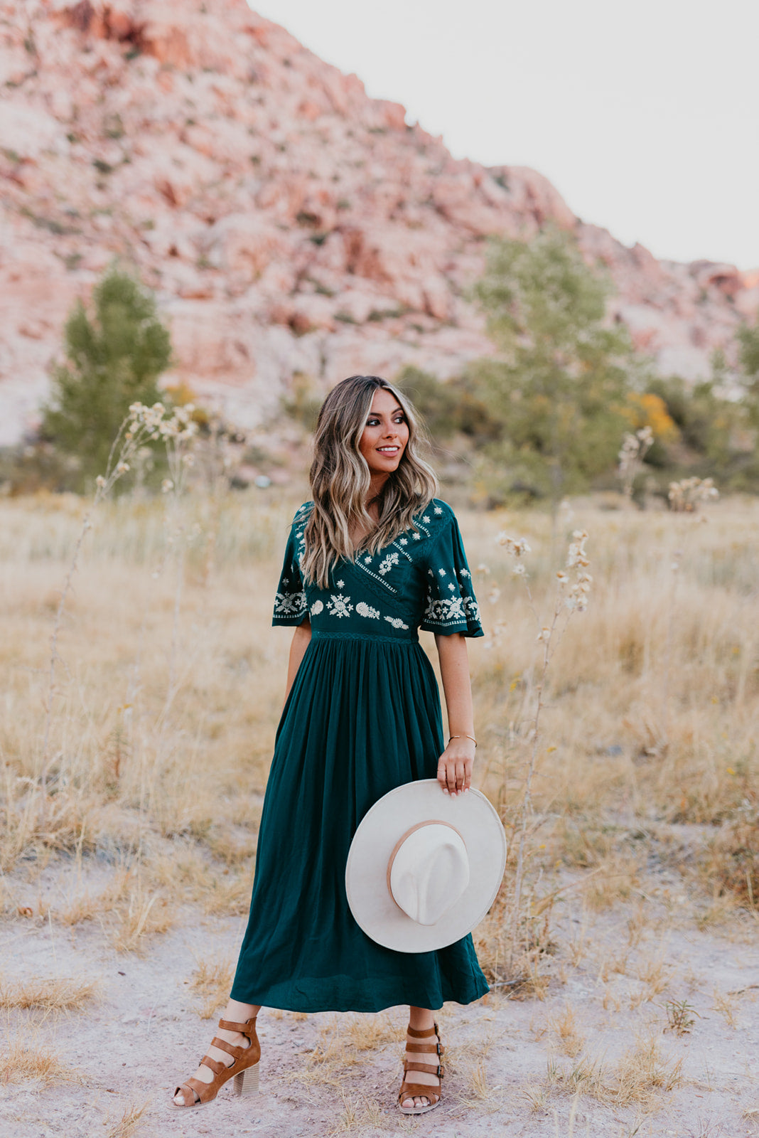 THE JASMINE EMBROIDERED MIDI DRESS IN TEAL