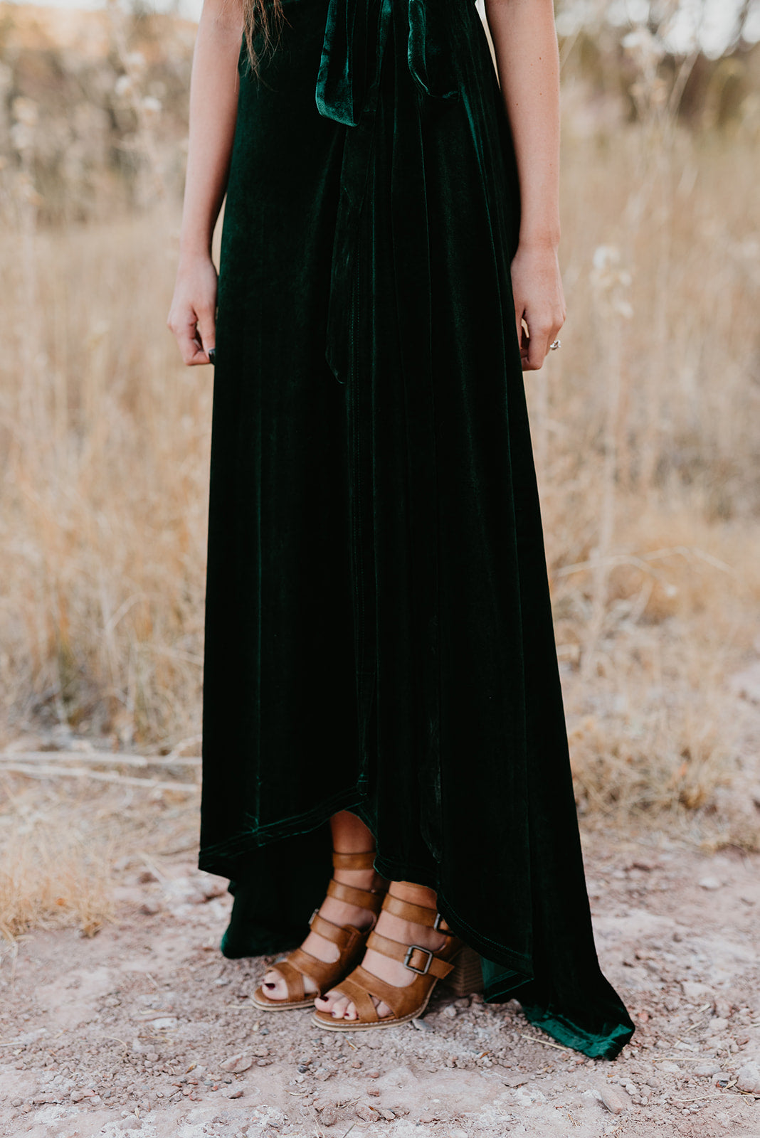 THE MEGAN MAXI VELVET WRAP DRESS IN EMERALD
