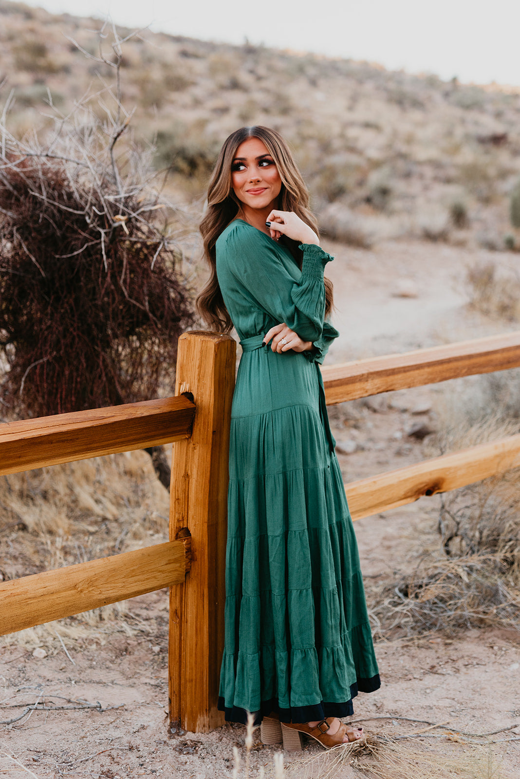 THE ERYN TIERED MAXI DRESS IN FOREST GREEN