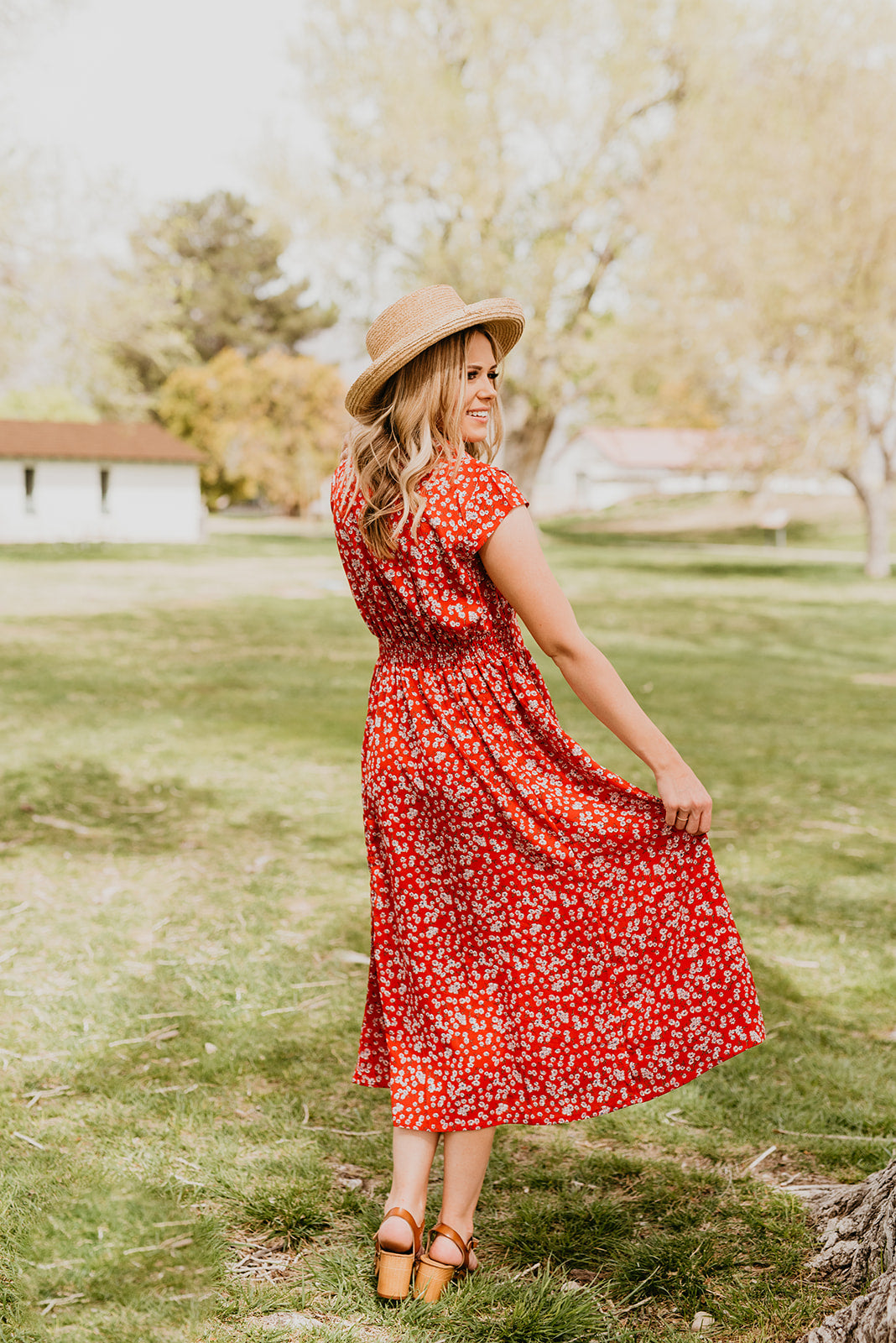 THE BLOSSOM MIDI DRESS IN RED