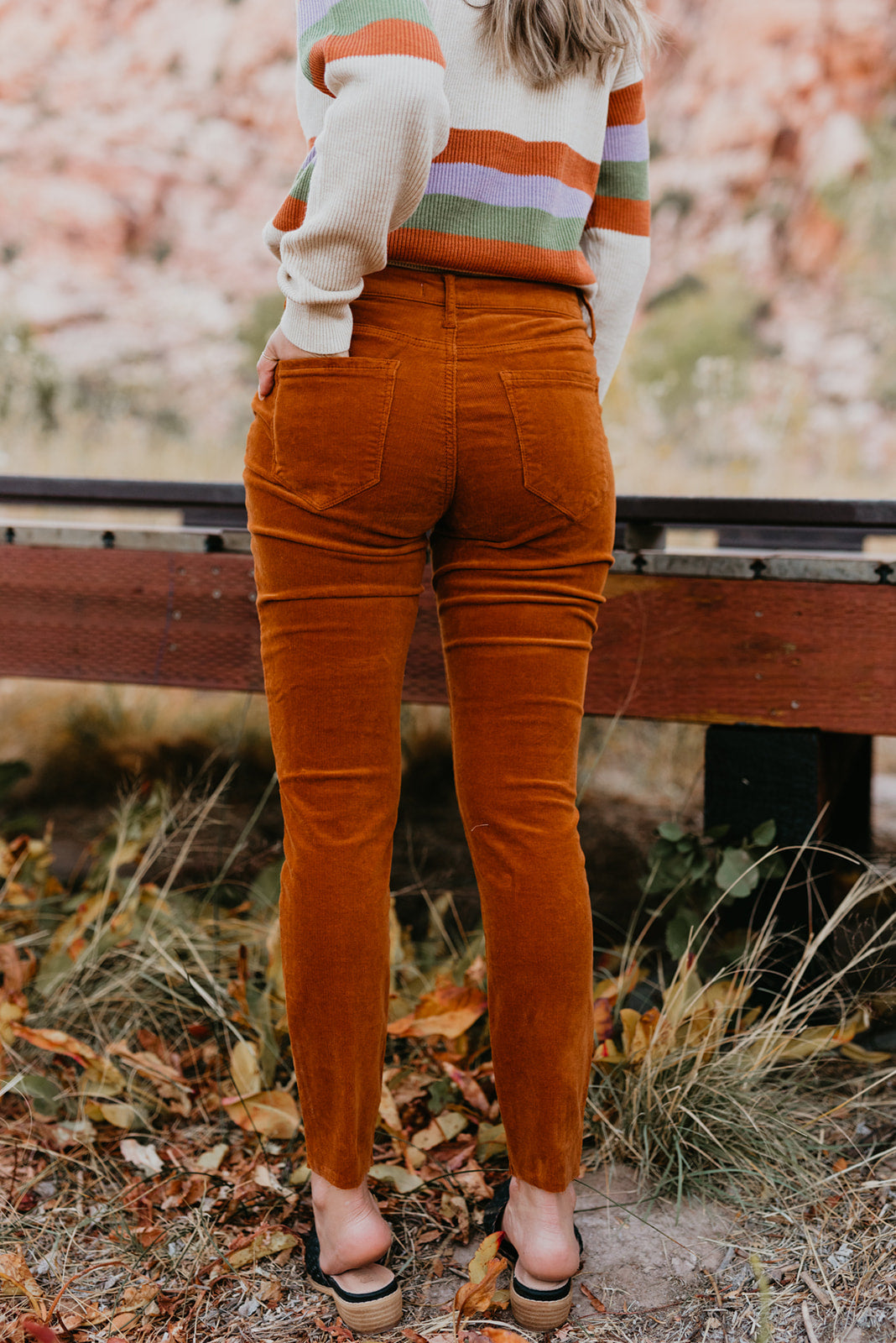 THE CORDUORY SKINNY HIGH RISE BUTTON FRONT IN CARAMEL